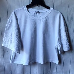 ZARA New White Cotton Lace Sleeves Oversized Top